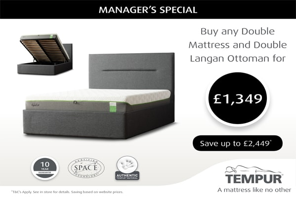 SAVE UP TO £2,449 WHEN BUYING ANY DOUBLE MATTRESS + DOUBLE LANGAN OTTOMAN