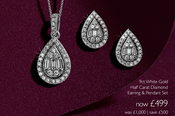 Ernest Jones Up to 50% Off Diamond Earring & Pendant Sets