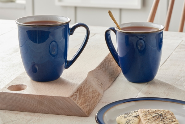 Denby Free set of 2 Imperial Blue Coffee Beakers worth £26 when you spend £85 or more