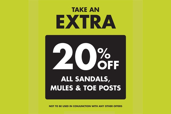 Pavers Extra 20% off sandals, mules and toe posts!
