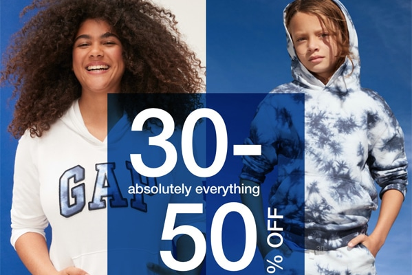 GAP Outlet 30% – 50% OFF ABSOLUTELY EVERYTHING