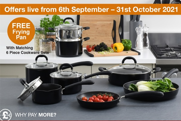 ProCook FREE Frying Pan With Matching Six Piece Cookware Sets
