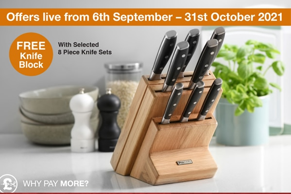 ProCook FREE Knife Block With Selected 8 Piece Knife Sets