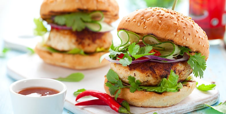 Spicy Thai Chicken Burgers