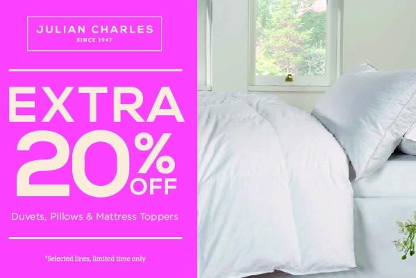 Extra 20% off selected duvets, pillows, toppers and protectors