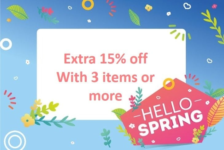 Extra 15% Off with 3 items or more