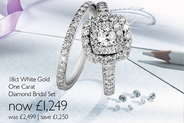 82dd54e4b38c4 Ernest Jones - 50% off 18ct White Gold One Carat Diamond Bridal Set ...