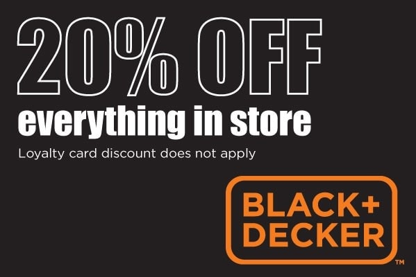 Black and Decker 20% Off everything in store