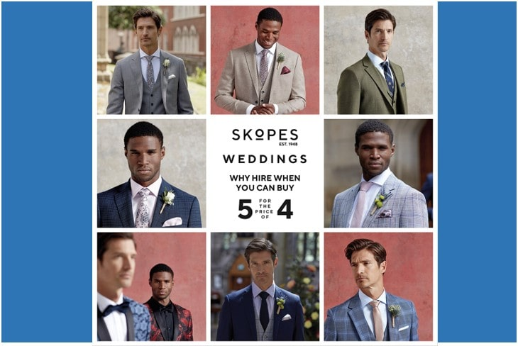 Skopes Weddings – Why hire when you can buy? Get the fifth suit FREE!