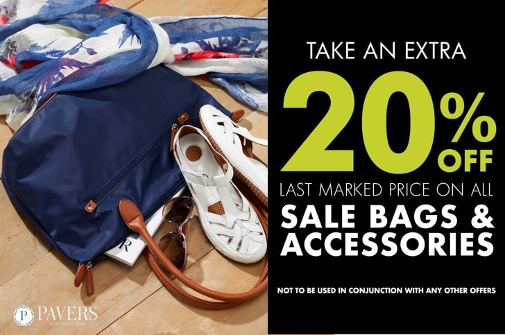 Pavers Extra 20% off all Sale Handbags and Accessories