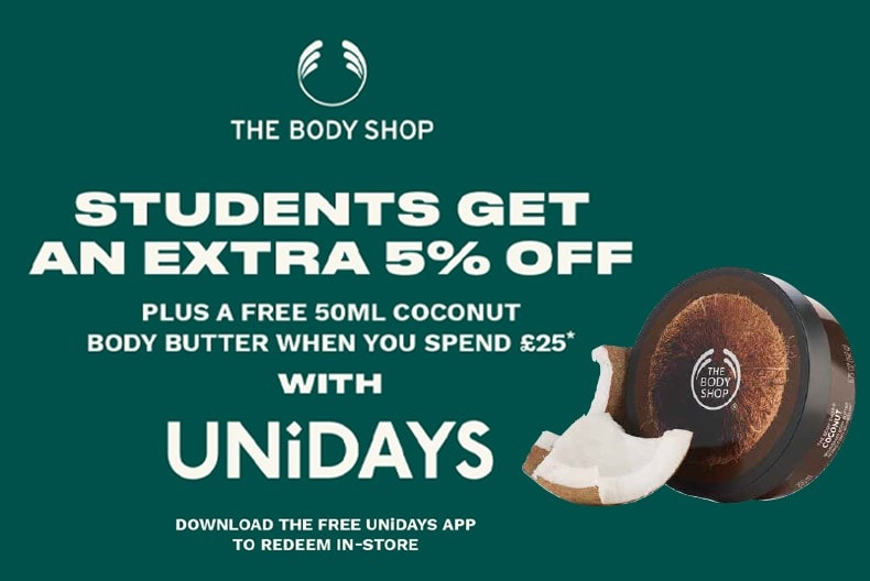 The Body Shop 5% Student Discount